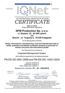ISO 9001:2009 and ISO 14000:2005 certificate