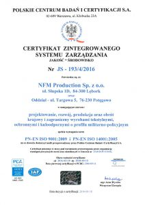 ISO 9001:2009 and ISO 14001:2005 certificate