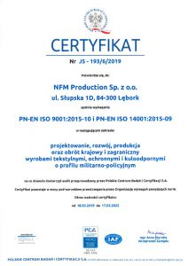 ISO 9001:2015-10, ISO 14001:2015-09 certificate