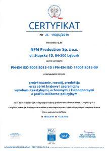 Certificado ISO 9001:2015-10 y ISO 14001:2015-09 certificate
